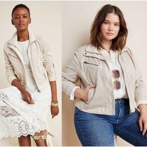 NWT  Anthropologie BLANKNYC Imelda Perforated Moto Jacket in Ivory, Size: XL